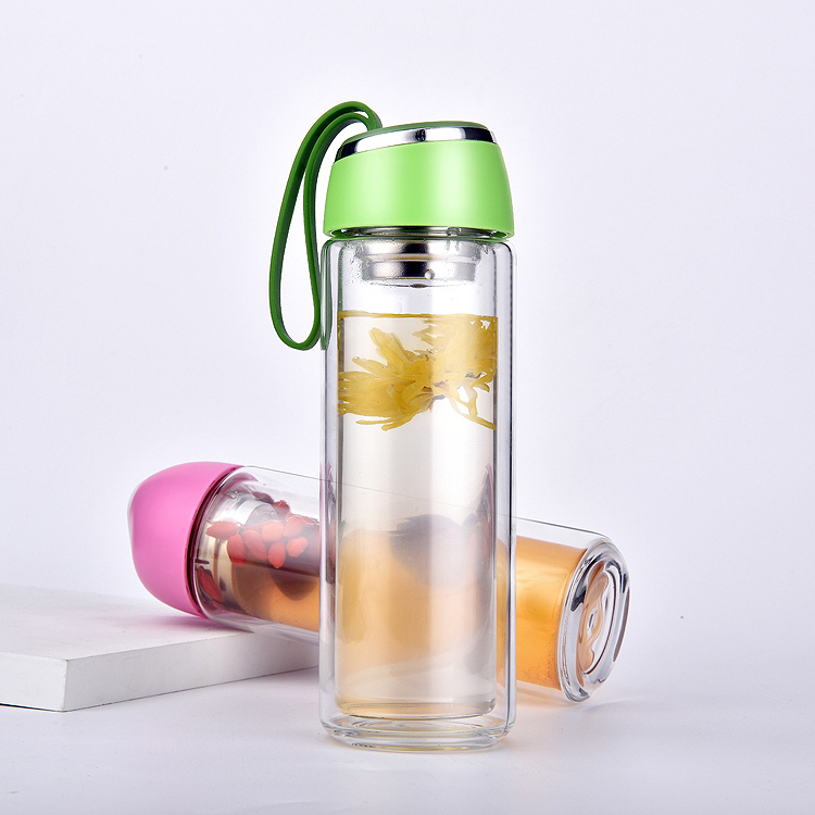 300ML double wall glass water bottle with 304SS filter